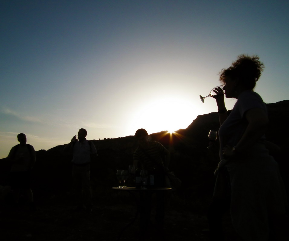 Walking and Wine tasting during the sunset
