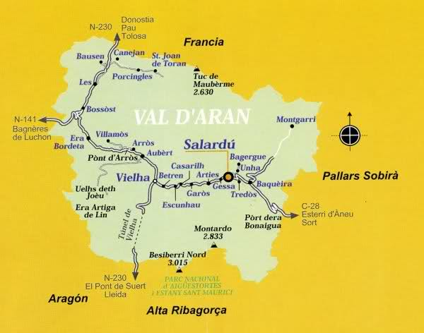 Mapa Valle De Aran.Boi And Aran Valleys In The Pyrenees Ecotourism Holidays